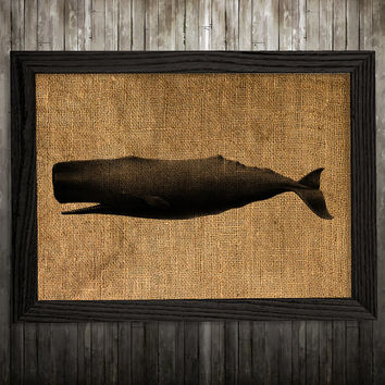 Whale decor Nautical poster Marine print Burlap print BLP471