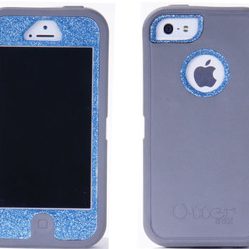 SALE Otterbox iPhone 5 Case Custom Glitter Grey/Ocean by 1WinR