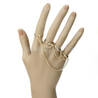 Chic Simple Women Adjustable Alloy Four Finger Tassel Chain Rings Golden Tone-in Rings from Jewelry & Accessories on Aliexpress.com | Alibaba Group