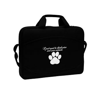 """I Just Want To Drink Wine And Save Animals 15"""" Dark Laptop / Tablet Case Bag by TooLoud"""