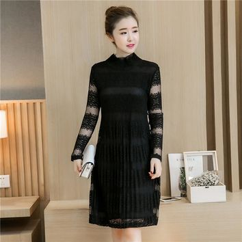 autumn new women round neck lace Korean version stitching Show thin sleeve long sleeve dress Plus Size 3XL