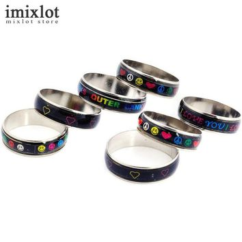 Imixlot 20pcs Men Women Punk Mood Rings Colorful Pattern Colors Change With Emotion Temperature Mood Lord Rings Jewelry