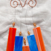 Wind chime,#Etsygifts stained glass wind chime, glass wind chime, garden art, blue wind chime, orange wind chime