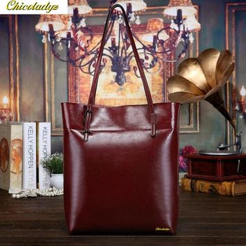 CCHICOLADYZ fashionable casual black shoulder bags big cowhide pu oil waxing women's bag genuine leather handbag bolsos mujer