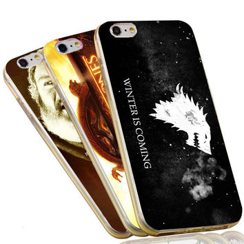 For iPhone 4 4S 5C 5 5S SE 6 6S 7 Plus Jon Snow Stark Wolf  Winter is Comming The Game of Thrones Case Soft TPU Phone Cover