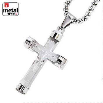 Jewelry Kay style Men's Stainless Steel Sacrifice Jesus Cross Pendant Chain Necklace Set SCP 138 S