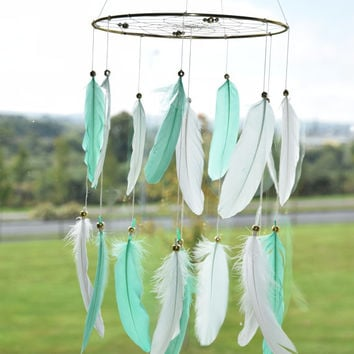 Woodland Nursery Mobile, Large Dreamcatcher Mobile, Baby Boy Nursery Decor,  Woodland Baby Shower, Mint and White Nursery Decor,