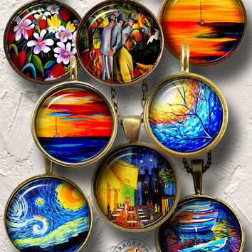 Impressionist Painting Digital Collage Sheets for Jewelry, Pendants 20mm, 18mm, 16mm, 14mm, 12mm circles, Printable Digital Download CG-1005