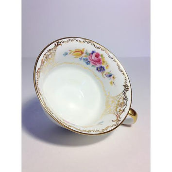 Zeh Scherzer Bavarian China Teacup, 50th anniversary, 1930s Porcelain Teacup, Floral Roses, Gold Flowers, Bavaria China
