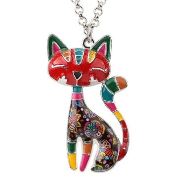 Maxi Enamel Cat Chain Necklaces