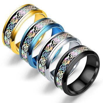 Hot 4 Colors  Dragon Stainless Steel Ring Mens Jewelry For Men Lord Wedding Band Male Ring For lovers Fashion Jewelry