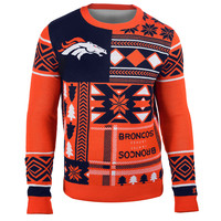 "Denver Broncos Official Men's NFL ""Ugly Patches"" Sweater by Klew"