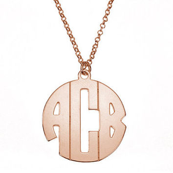 18k Rose Gold-Plated Silver Small Round Monogram Necklace