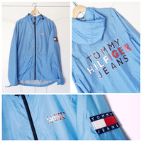 Vintage 90s TOMMY HILFIGER Colorblock Blue Hooded Windbreaker Jacket XL
