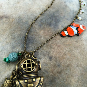 Antique Gold Scuba Diver Pendant Chain Necklace Inspired by Finding Nemo