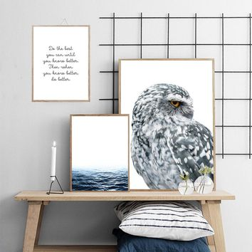 Scandinavian Style Ocean Owl Canvas Nordic Posters Motivational Quote Prints Landscape Wall Art Painting Decoration Pictures