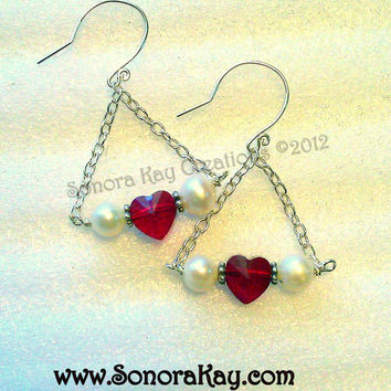 Sterling Silver with Swarovski Crystal  Heart  and Genuine Pearls Earrings