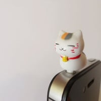SALE 80-20%OFF: Cute Sitting Cat // iPhone Plug . Phone Charm . Phone Plug . Dust Plug - Hand Painted, Cat, Kawaii, Girly