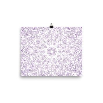 Reiki Charged Purple Lotus Mandala Poster Meditation Yoga Grunge Hippie