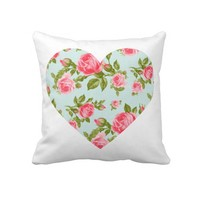 Cute Big Heart with Girly Chic Vintage Roses Pillow from Zazzle.com