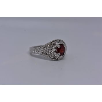 Vintage Bohemian Red Garnet white sapphire  925 Sterling Silver Rhodium Finish Ring