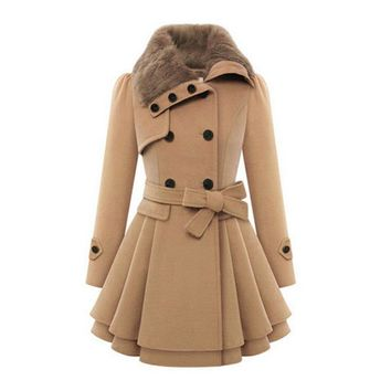 2018 Winter Coat Women Lapel Wool Blend Coat Long Red Khaki Slim Fit Trench Coat Long sleeve Outwear Wool Jacket Women Coat