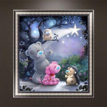 DIY 5D Bear Diamond Embroidery Painting Cross Crafts Stitch Home Wall Decor Kit RTP