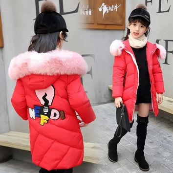 Trendy Winter Down Jacket Girl Warm Winter Coat New Year  A Lively Girl Dressed In Cotton-padded Clothes In Park Happy To Play AT_94_13