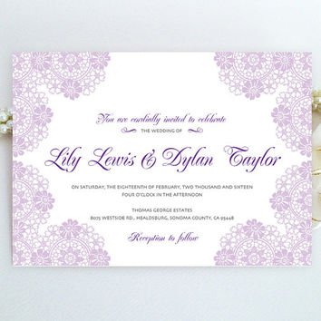 Purple lace wedding invitation printed on luxury pearlescent paper | Victorian lace elegant engagement invitation