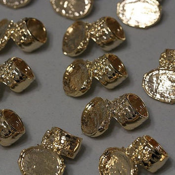 Ring Base Blanks (5) Size 9 Arty Style Gold Knuckle Statement Bezel Style Cabochon Gemstones DIY Jewelry Making Supplies