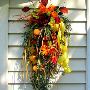 Fall swag, fall decorations, front door wreath, beautiful wreaths, thanksgiving decor, Autumn decor, fall leaves, autumn wreath, wreath swag