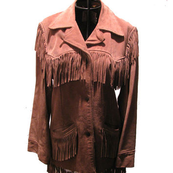 Vintage Excelled Suede Fringed  Cowboy Western Jacket Womans size 12