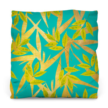 Gold and Teal Florals Throw Pillow