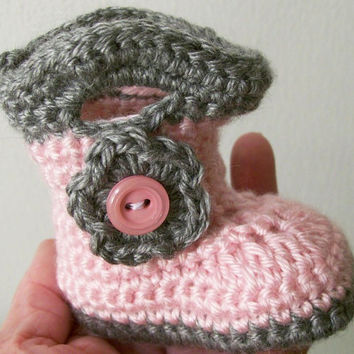 Baby Cowboy Boots- Pink withe Grey--Crochet  --Made in the USA--Baby Shower Gift--