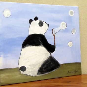 Panda Painting Whimsical Childrens Art Blowing by andralynn