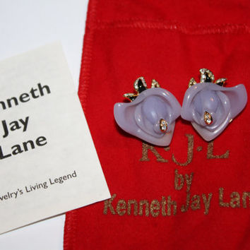Vintage KJL  Purple Rose Earrings,Kenneth Jay Lane, Tuxedo Rose KJL, Vintage Earrings