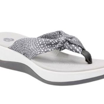 Clarks Cloudsteppers Aria Glison Grey w/ White Dots Fabric Sandals
