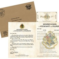 Personalized Harry Potter Acceptance Letter - with Envelope, Supply List and Train Ticket - Hogwarts School of Witchcraft and Wizardry