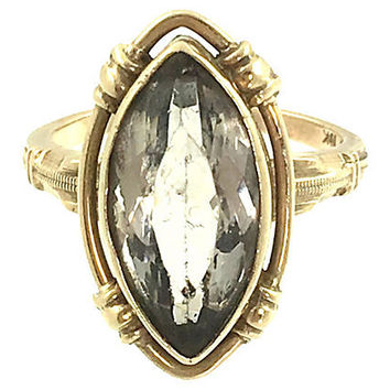 10K Gold Rock Quartz Crystal Ring