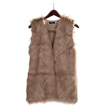 2017 Women Faux Fur Vest Special Slim long fuax fur Coat women XXL Gilet Fourrure Rabbit Black/Red/Brown Fur Gilet Fur Vest