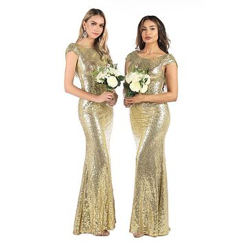 Golden Sequins Bodycon Maxi Dress