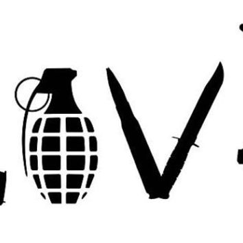 Love with Guns car decal sticker grenade hand gun window vinyl sticker truck