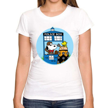 Newest doctor who cartoon printed women customized t shirt short sleeve casual slim lady fashion tee shirts novelty funny tops