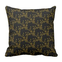 Floral Spray, Black-Gold-SQUARE THROW PILLOW