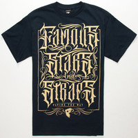 Famous Stars & Straps Olde Black Mens T-Shirt Navy  In Sizes