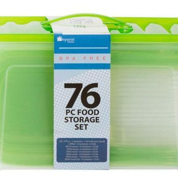 76 Piece Plastic Container Set - Green Lid - CASE OF 4