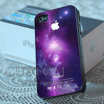 Purple Galaxy Nebula with Apple Logo - Rubber or Plastic Print Custom - iPhone 4/4s, 5 - Samsung S3 i9300, S4 i9500 - iPod 4, 5