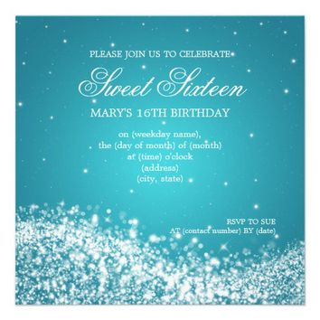 Sweet Sixteen Party Sparkling Wave Blue Personalized Invite from Zazzle.com