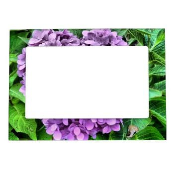 Magnetic Frame Purple Flower and Green Leaves