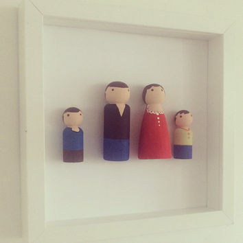 Peg People, Peg People Family frame, Family Portrait, Family Tree